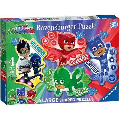 PJ Masks-4 Large Shaped Jigsaw Puzzles