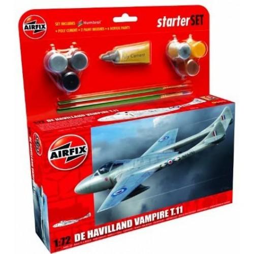 Airfix 1:72 De Havilland Vampire T11 Starter Aircraft Model Set