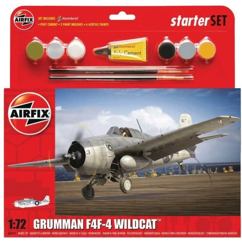 Airfix 1:72 Scale Grumman F4F-4 Wildcat Starter Set Model Kit